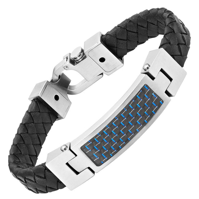 Willis Judd Black Leather Bracelet with Stainless Steel and Blue Carbon Fiber with Gift Box