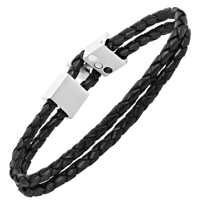 Willis Judd Men's Black Magnetic Leather and Stainless Steel Bracelet with Black Carbon Fiber Gift Boxed