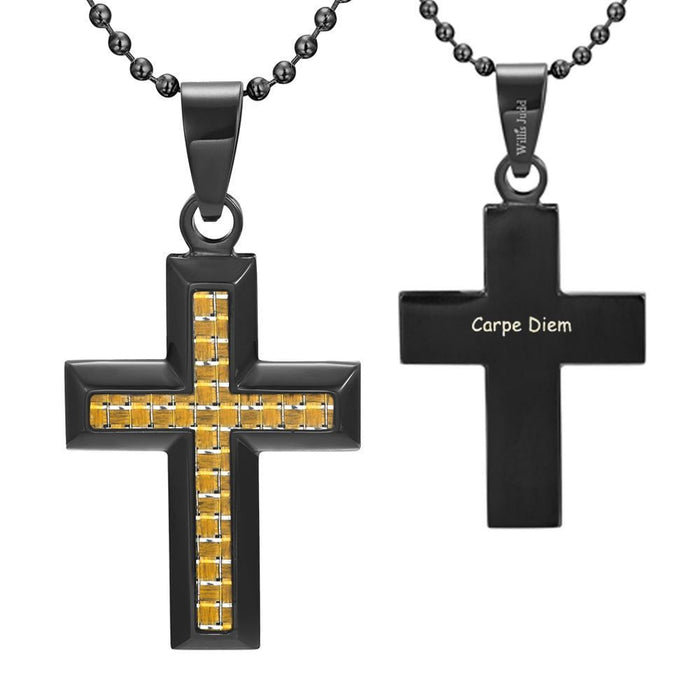 Willis Judd Men's Black Stainless Steel Cross Pendant Engraved Latin Carpe Diem with Colored Carbon Fiber and Necklace with Gift Pouch