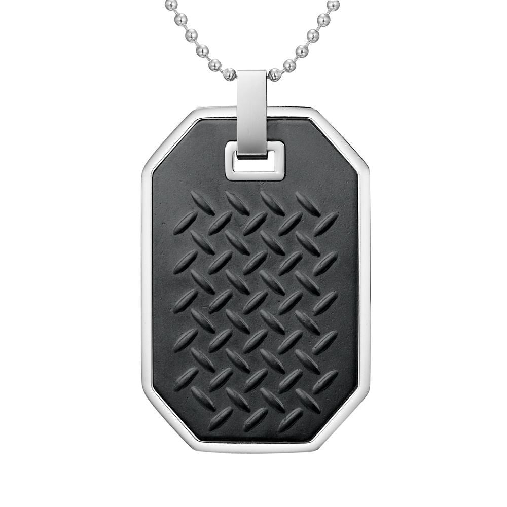 Willis Judd Mens Black Two-Tone Stainless Steel Checkered Plate Effect Pendant with Necklace and Gift Pouch