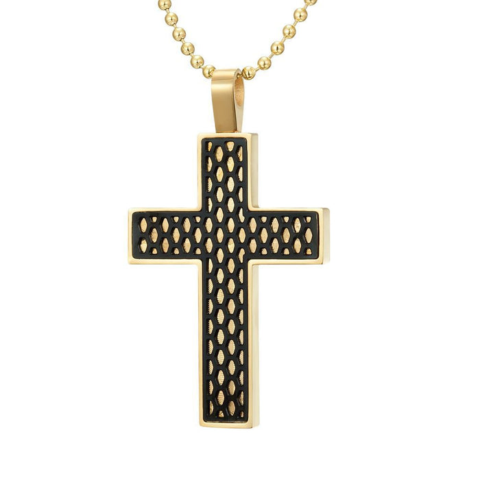 Willis Judd Mens Stainless Steel Cross Honey Comb Pendant with Necklace and Gift Pouch