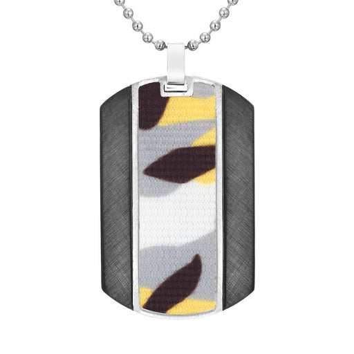 "Willis Judd Mens Camouflage Stainless Steel Pendant In Black with 22"" Necklace and Gift Pouch 3"