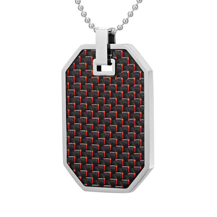 Willis Judd Mens Reversible Stainless Steel Red Carbon Fiber and Checker Plate Effect Pendant with Necklace and Gift Pouch