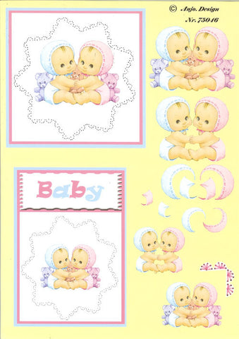 3D Card Topper - Babies, Pink & Blue