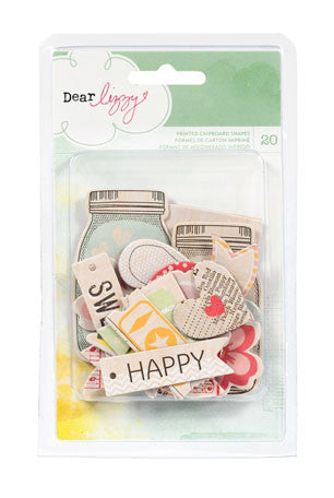 American Crafts - Dear Lizzy Neapolitan - Printed Chipboard Shapes
