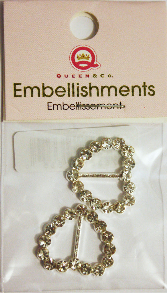 Queen & Co Heart Shaped Diamante Ribbon Buckles