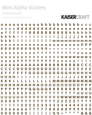 Kaisercraft - Mini Alpha Stickers - White & Chocolate