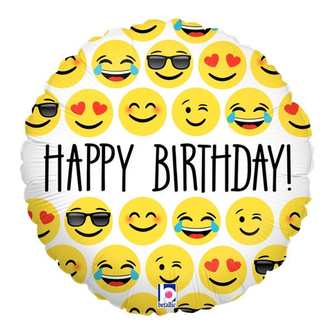 "18"" Emoji Birthday Foil Balloon"