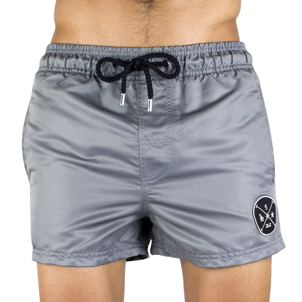 Gray Men's Swim Short | Designer Men's Swimwear | Five Star Deluxe