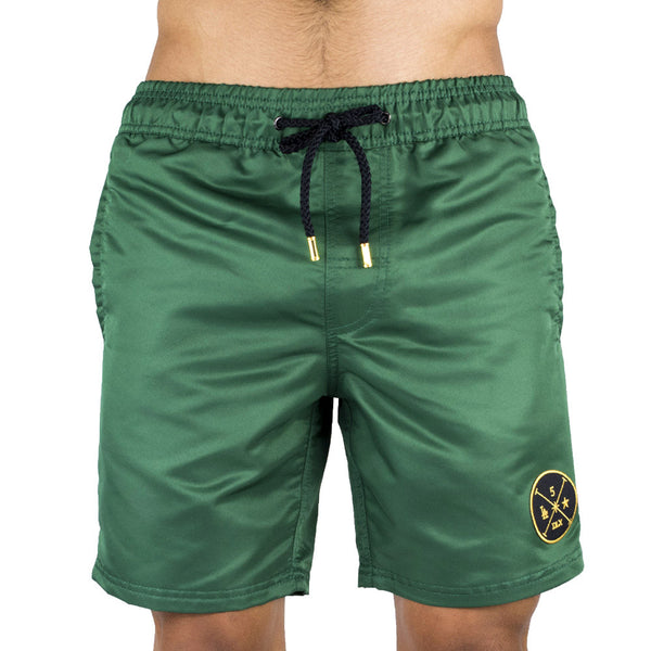 Green Men's Board Short | Designer Men's Swimwear | Five Star Deluxe