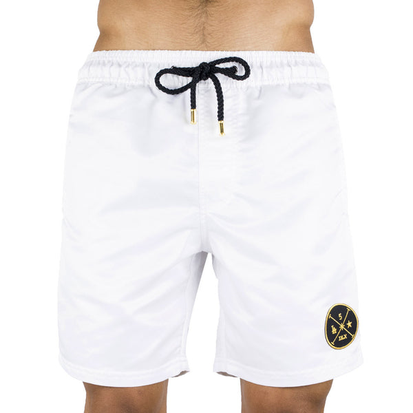 White Men's Board Short | Designer Men's Swimwear | Five Star Deluxe