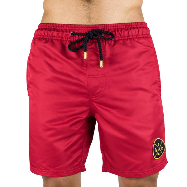 Red Men's Board Short | Designer Men's Swimwear | Five Star Deluxe