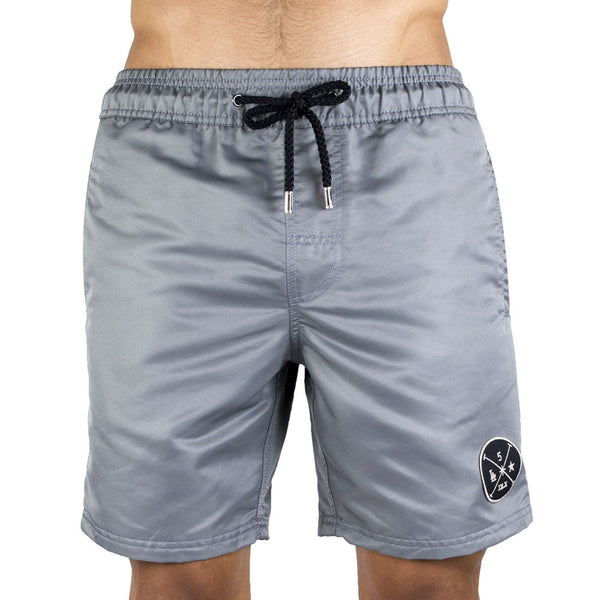 Gray Men's Board Short | Designer Men's Swimwear | Five Star Deluxe