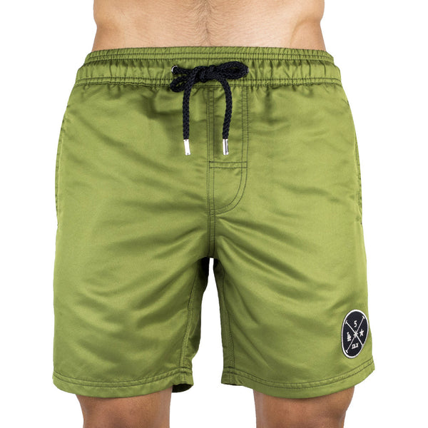 Kaki Men's Board Short | Designer Men's Swimwear | Five Star Deluxe