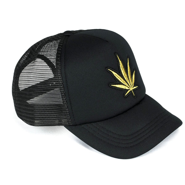Black Men's Trucker Hat | Gold Marijuana | Five Star Deluxe