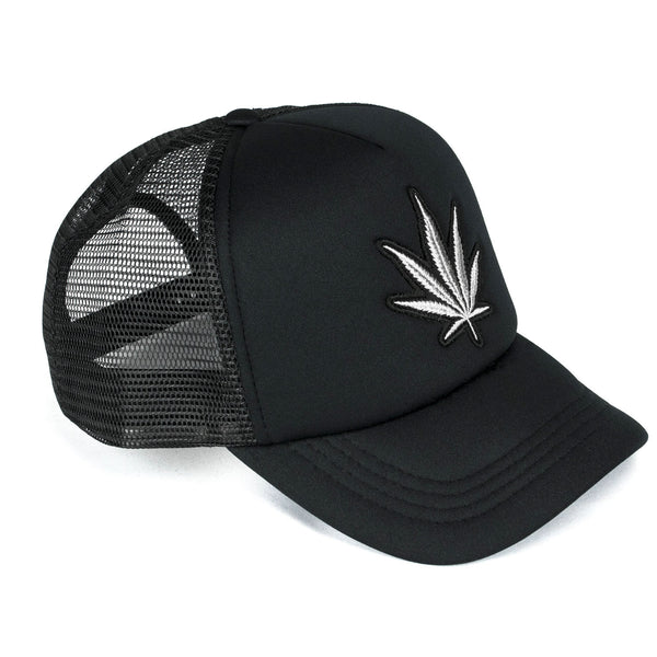 Black Men's Trucker Hat | Silver Marijuana | Five Star Deluxe