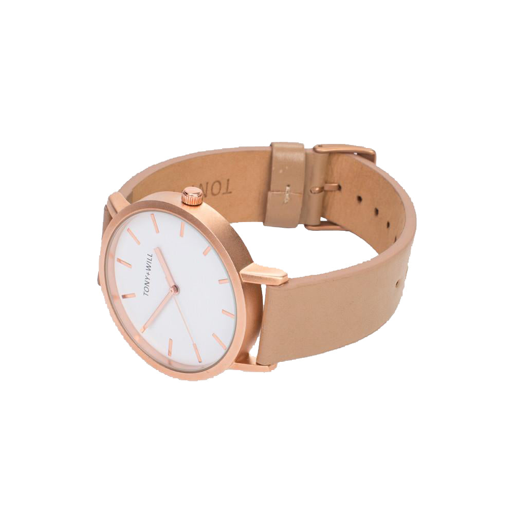 Rose Gold & Beige Leather Watch