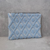 Sky Blue Woven Fabric Clutch