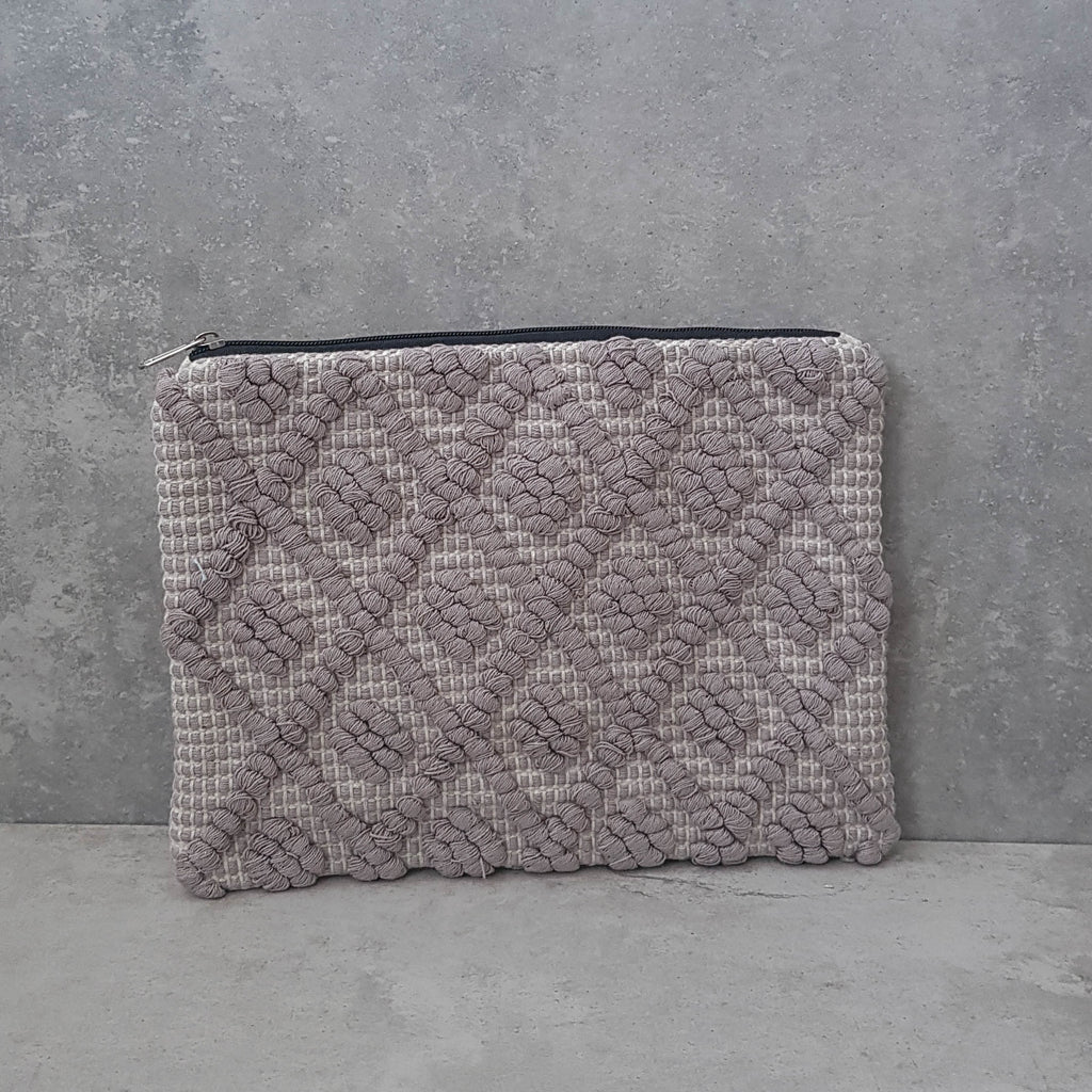 Mocha Woven Diamond Fabric Clutch
