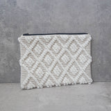 White Woven Diamond Fabric Clutch