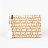 Natural straw Clutch with tufts of White Raffia