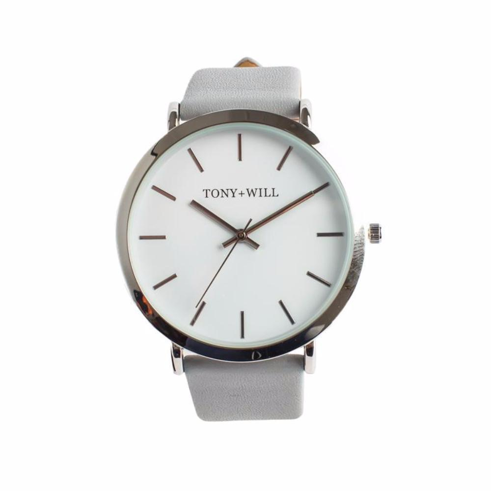 Silver & Grey Leather Watch