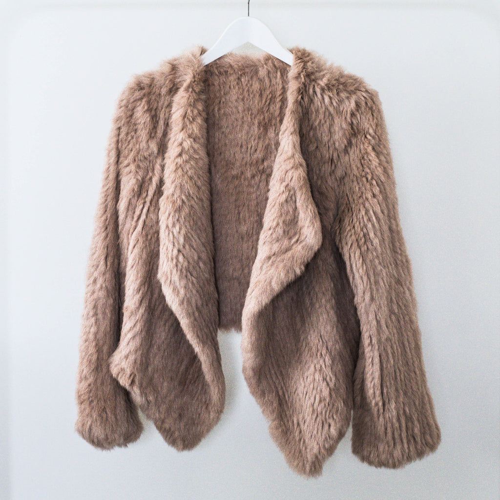 100% ethically sourced Camel dyed Rabbit Fur Jacket