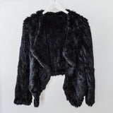100% ethically sourced, black dyed Rabbit Fur Jacket