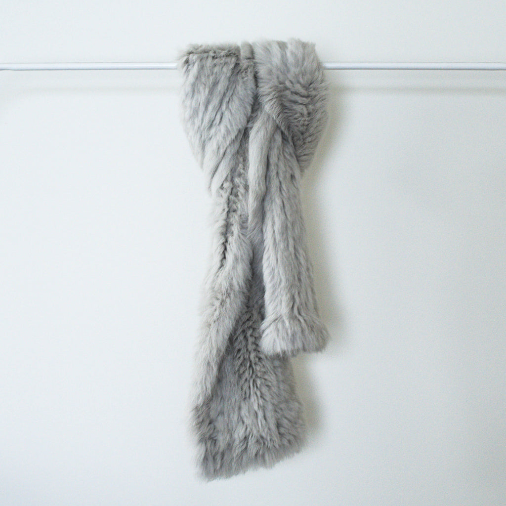 100% Ethically sourced, Misty Grey dyed Rabbit Fur