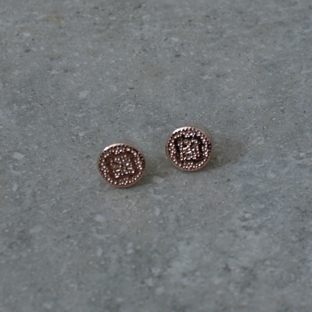 Rose Gold Embossed Disc Stud