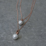 Rose Gold Two Layer Chain Necklace with Faux Pearls