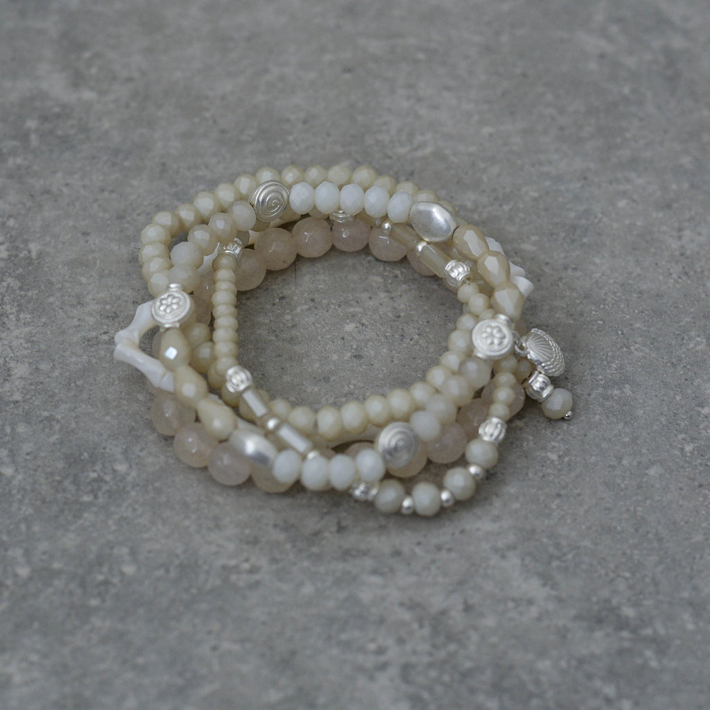 Five Strand Stretch Bracelet Natural & White with Mother of Pearl
