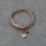 Stretch Ball Double Bracelet in Silver & Rose Gold with Heart