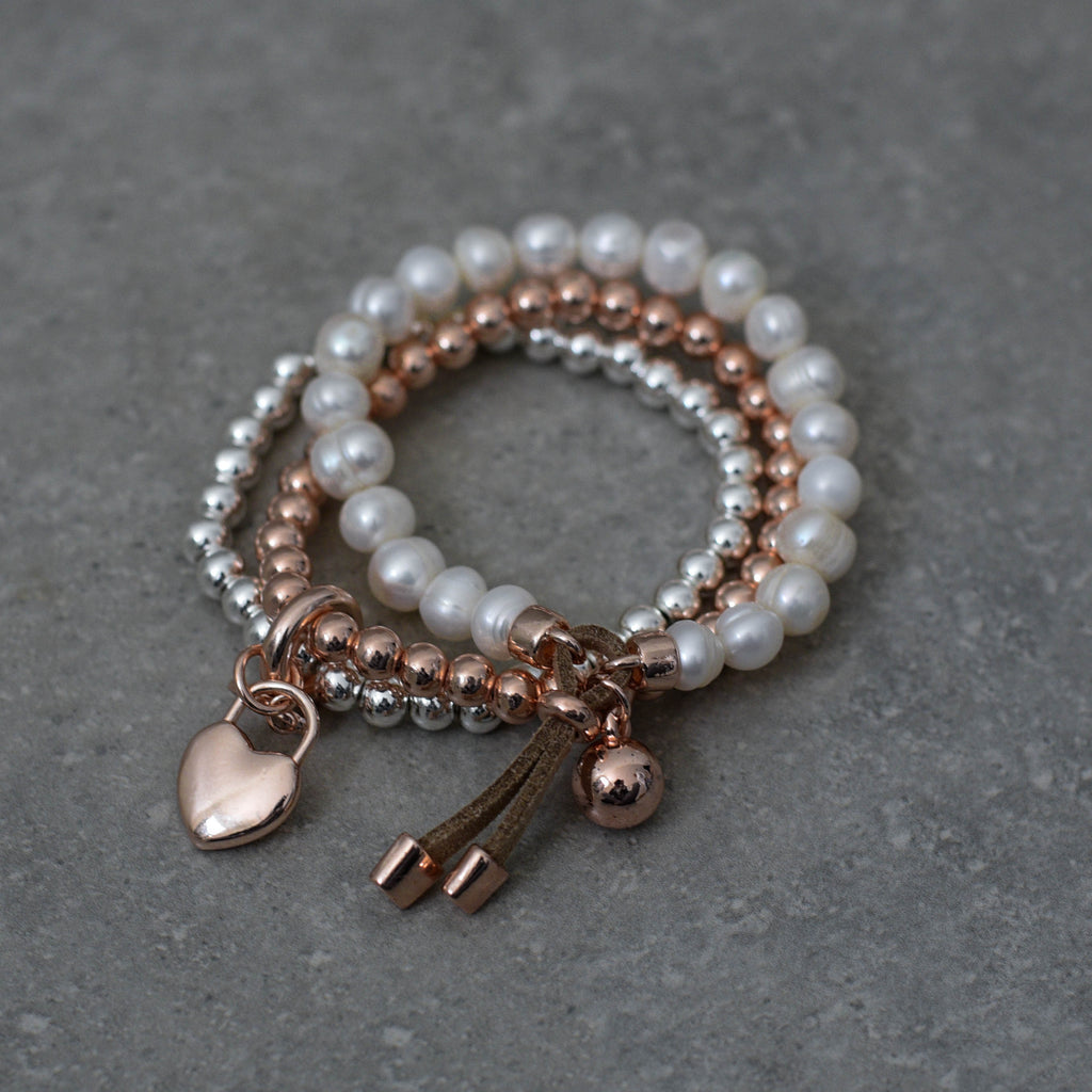 Silver & Rose Gold Bracelet with Pearl Bracelet
