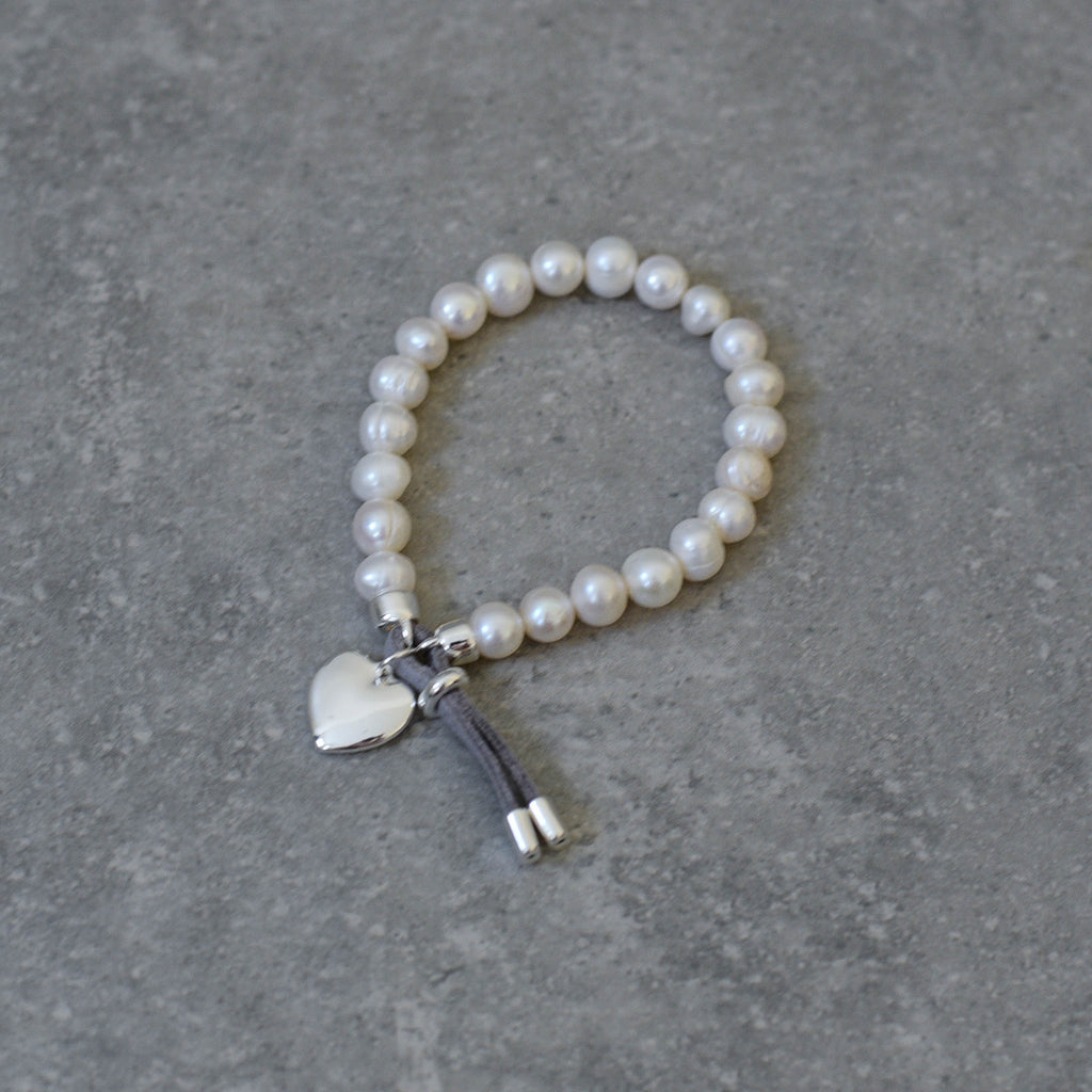 Freshwater Pearl Stretch Bracelet trimmed with a Silver & Grey Suede