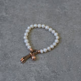 Freshwater Pearl Stretch Bracelet trimmed with a Rose Gold & Light Tan Suede