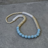 Wood, White & Pale Blue Resin Necklace