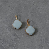 Soft green Precious Stone earrings on Gold French Hook