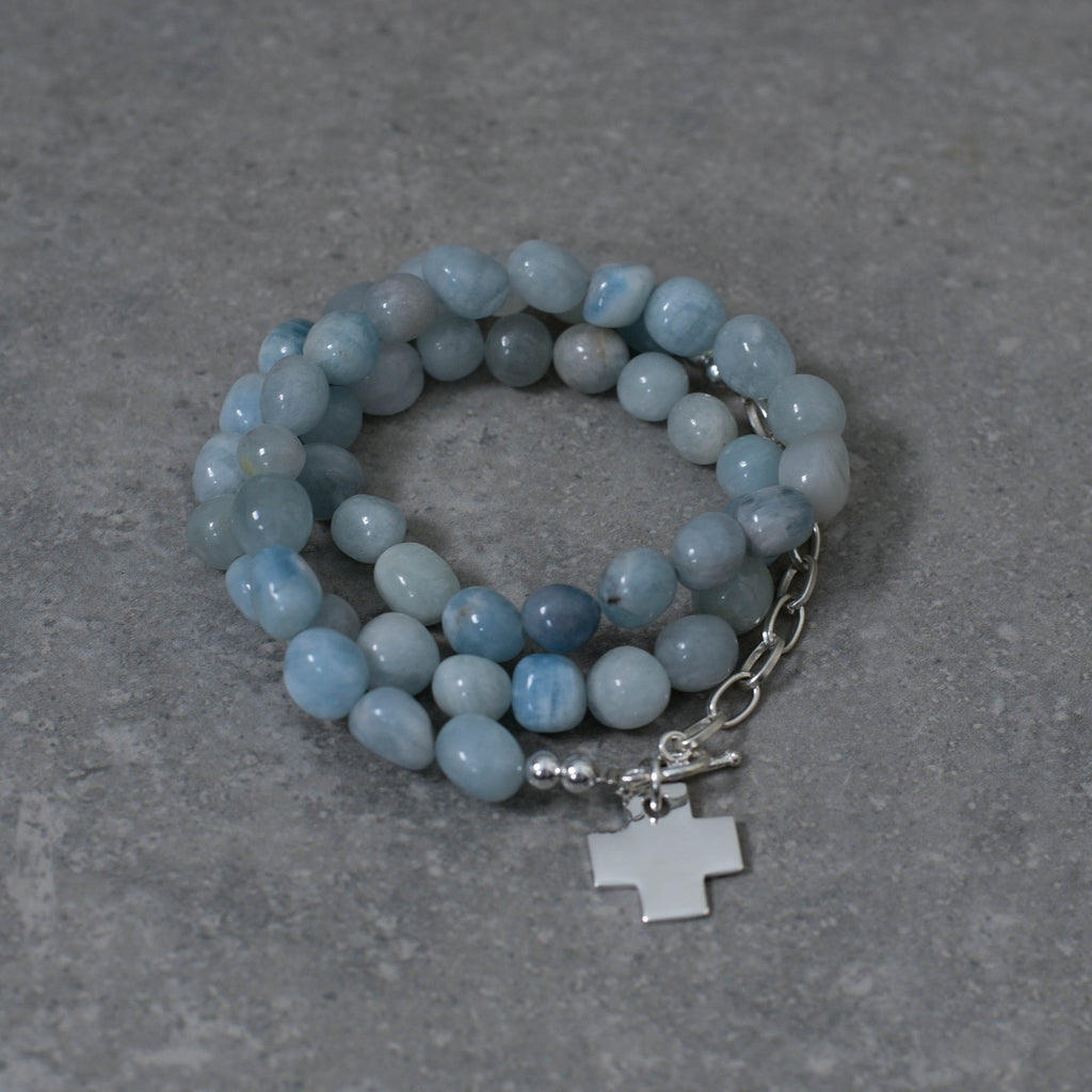 Aquamarine Stone and Sterling Silver with Sterling Silver Cross Wrap
