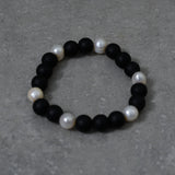 Stretch Matte Black Onyx and Freshwater Pearl Bracelet
