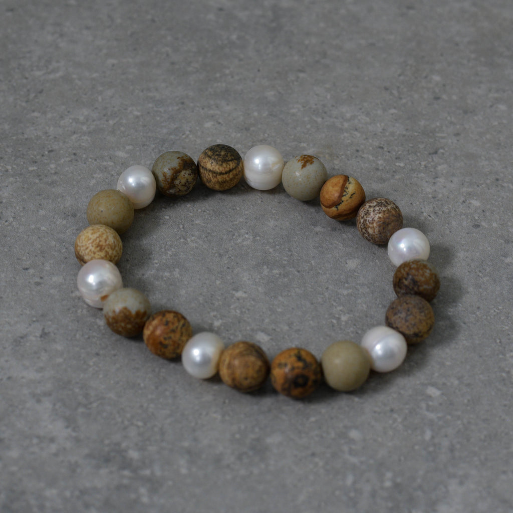 Stretch Jasper Stone and Freshwater Pearl Bracelet
