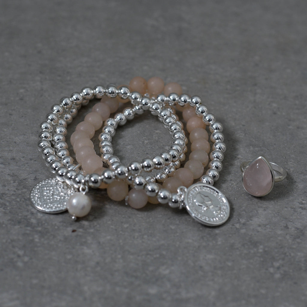 Silver Ball Stretch Bracelet with Silver Coin