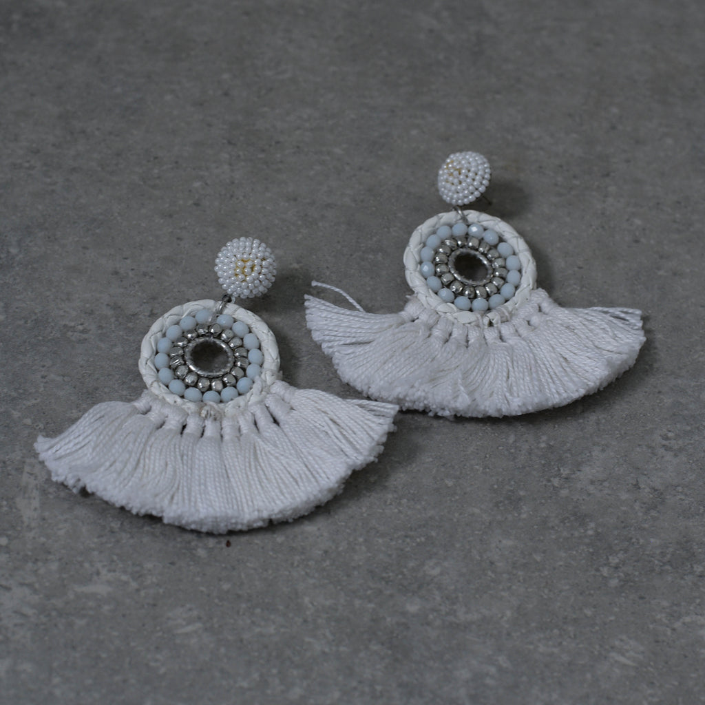 White & Pale Blue See Pearl Earrings with fringing