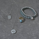 Double Layered Silver Necklace with Embellished Disc