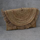 Woven rope plaited Clutch with Hessian Fringing