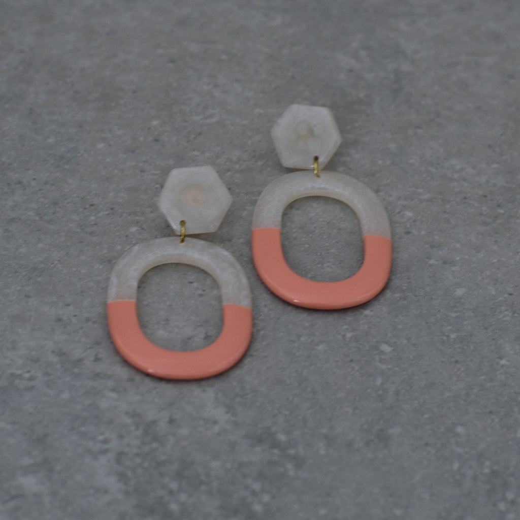 Coral and White Resin Earrings