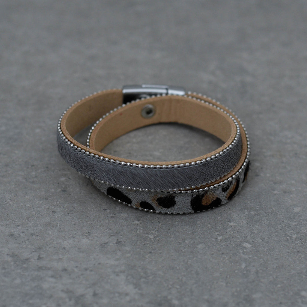 Double Wrap Bracelet with animal print & grey