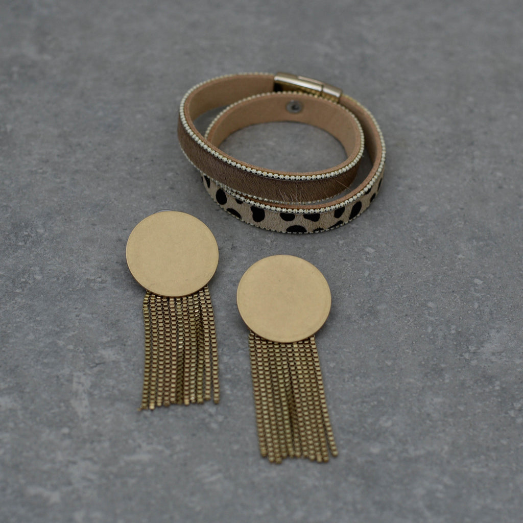 Double Wrap Animal Print & Nude Bracelet