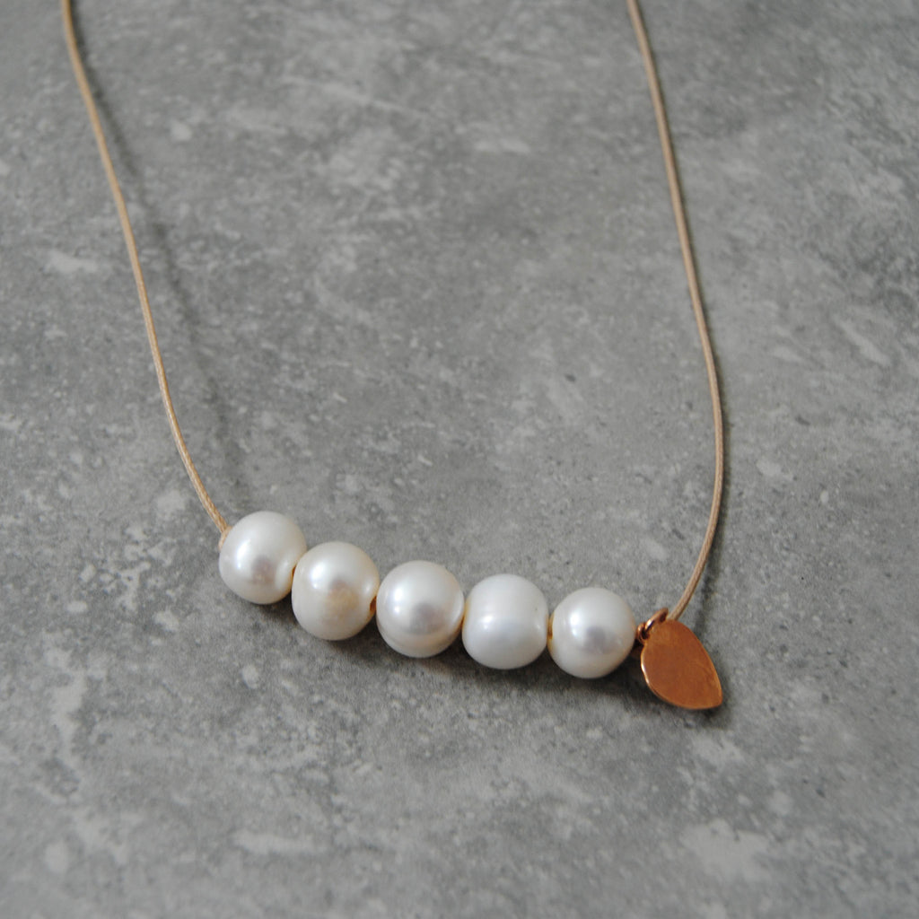 Pearl Bead Necklace with Rose Gold Heart