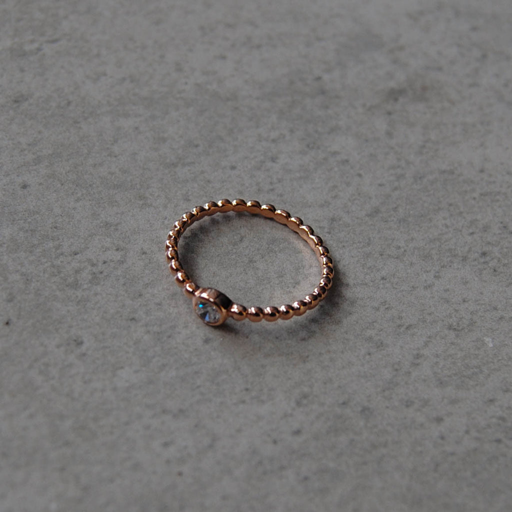 Rose Gold Ball CZ Stone Beaded Stacking Ring